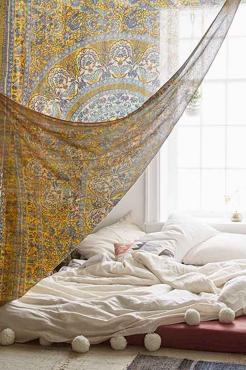 Magical Thinking Good Vibes Gauze Tapestry,YELLOW,ONE SIZE