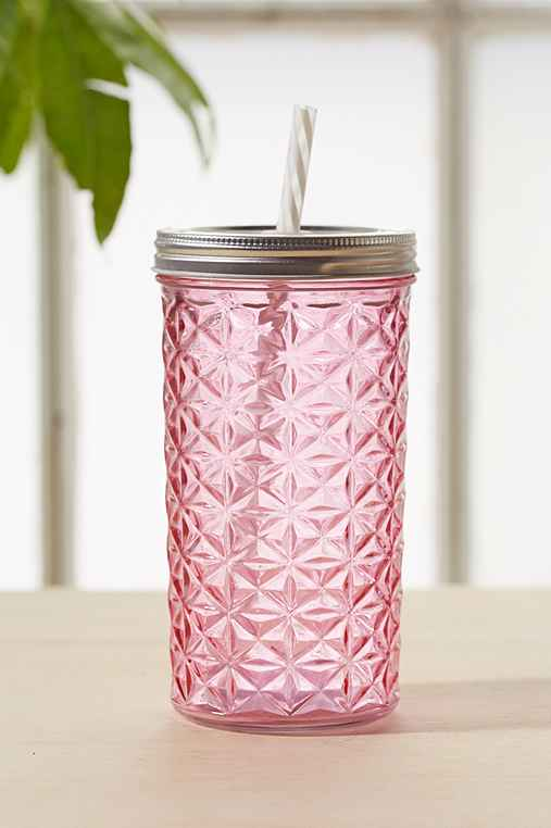 Faceted Glass To-Go Jar,PINK,ONE SIZE