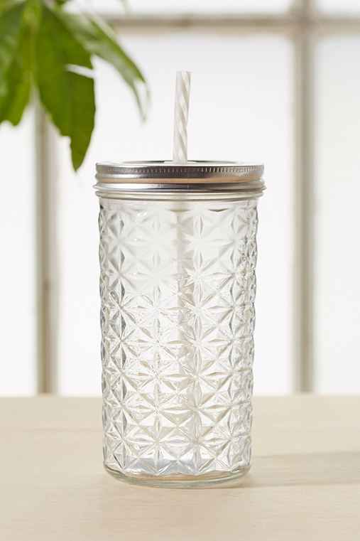 Faceted Glass To-Go Jar,CLEAR,ONE SIZE