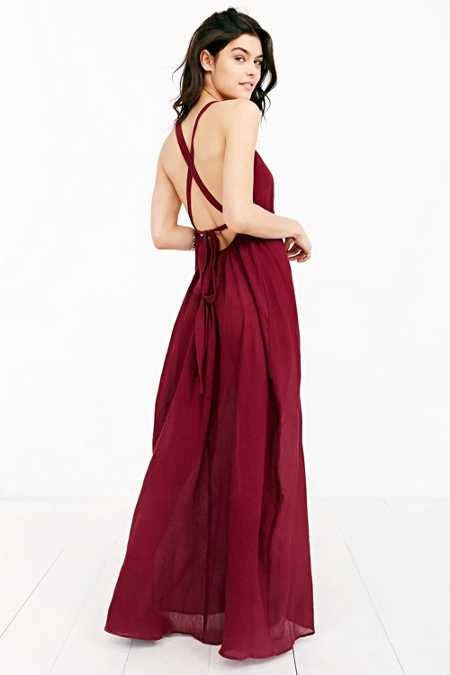 BOG Collective Grecian High-Neck Crepe Maxi Dress