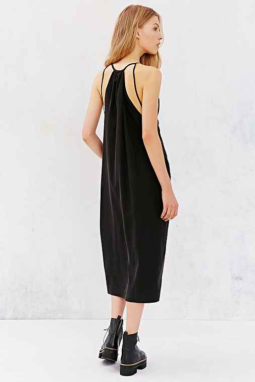 Silence + Noise Sedona Plunge Midi Dress,BLACK,XS