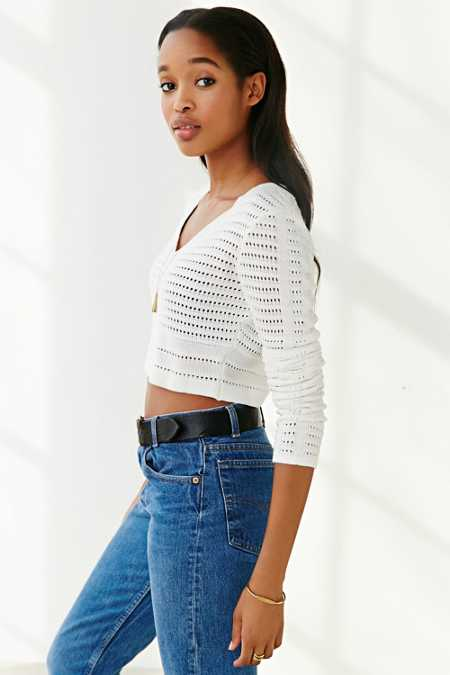 Margot Open-Stitch Cropped Top