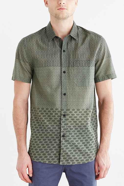 Koto Pattern Blocked Breezy Button Down Shirt Urban