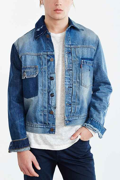 Levi's Red Arm Repaired Denim Jacket,INDIGO,S