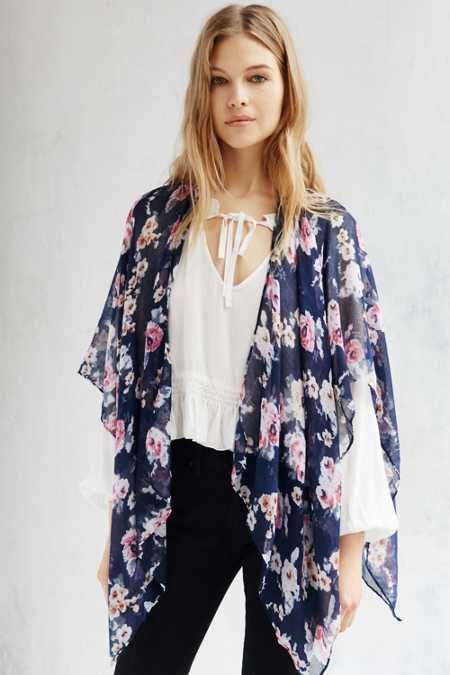 Rose Garden Lightweight Open Poncho