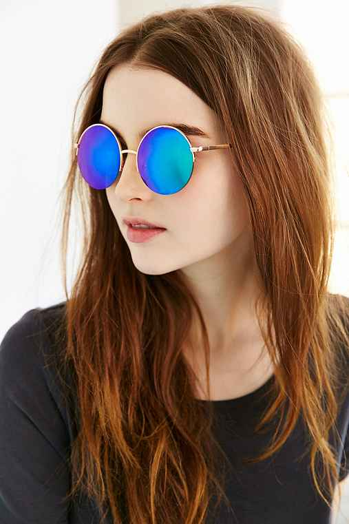 Famous Metal Round Sunglasses,GOLD,ONE SIZE