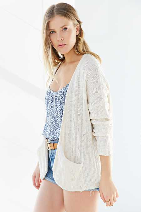 Ecote Rib-Knit Open-Front Cardigan