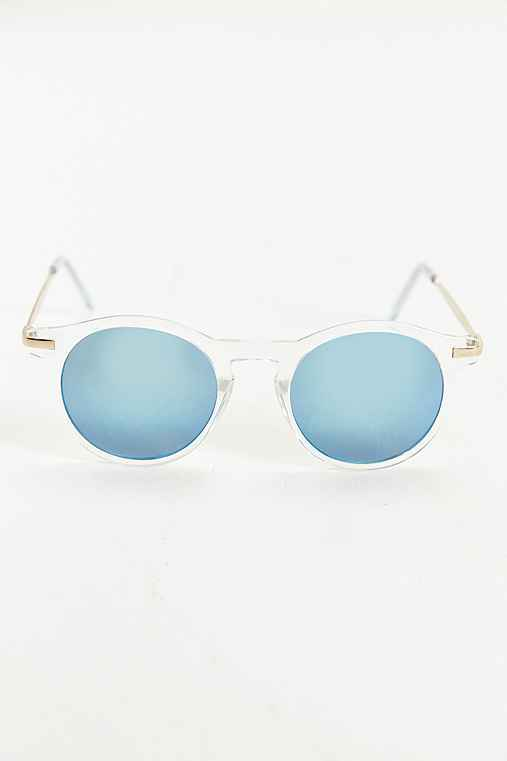 Metal Arm Blue Flash Round Sunglasses,CLEAR,ONE SIZE