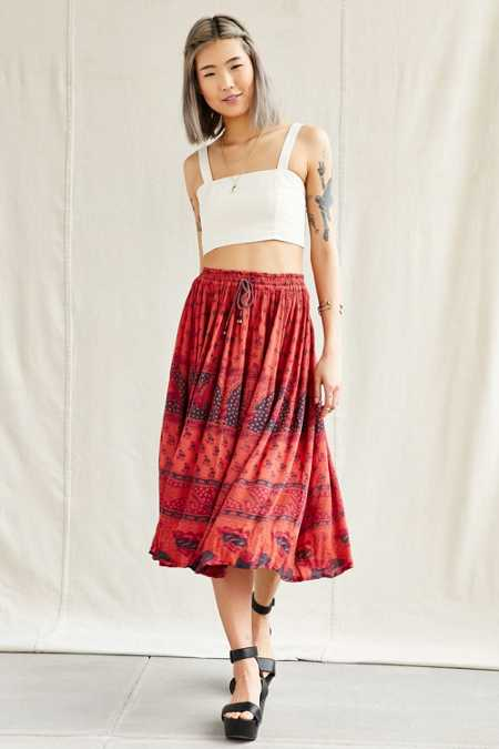 Urban Renewal Vintage Overdyed Midi Skirt