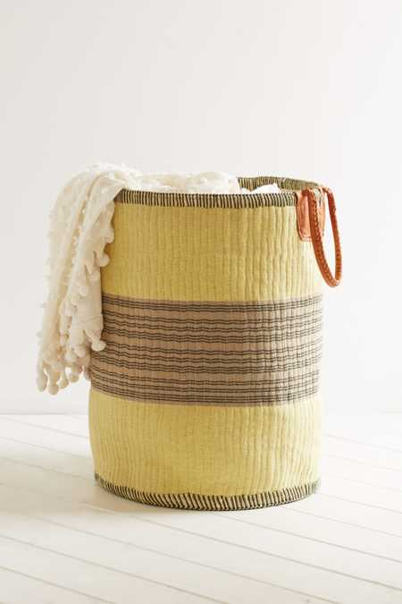 Vintage Yellow + Grey Woven Basket