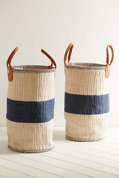 Vintage blue striped small woven basket