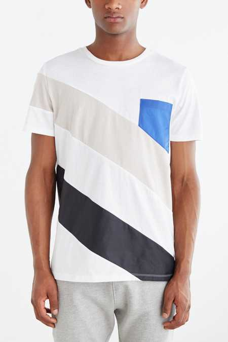 Nylon Diagonal Pieced Tee