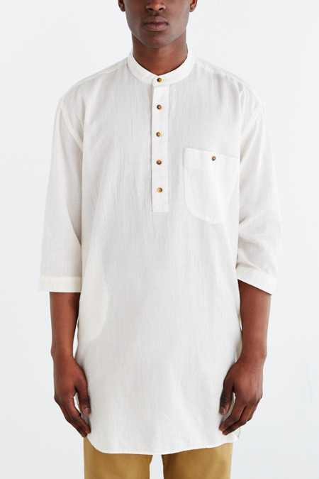 Koto Half-Sleeve Long Split Hem Popover Shirt