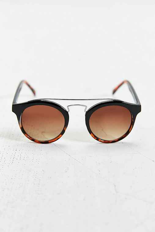 Gradient Brow Bar Round Sunglasses