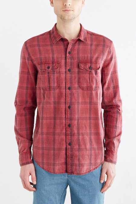Salt Valley Acid Washed Plaid Button-Down Workshirt