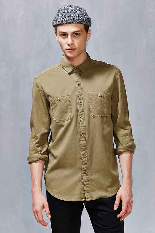All-Son Button-Down Utility Shirt,OLIVE,XS