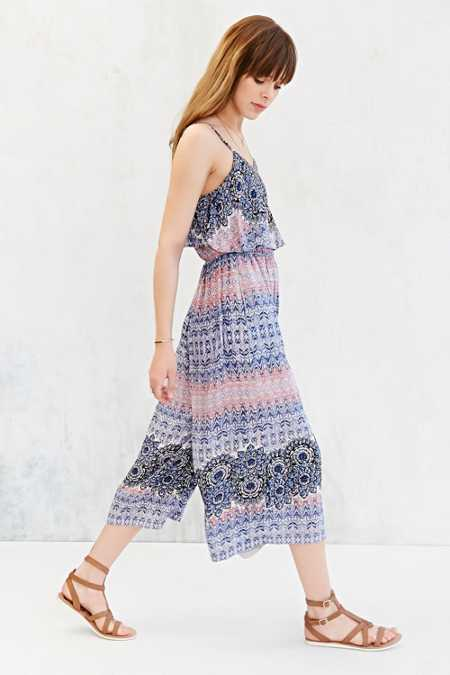 Ecote Double-Layer Wide-Leg Gaucho Jumpsuit