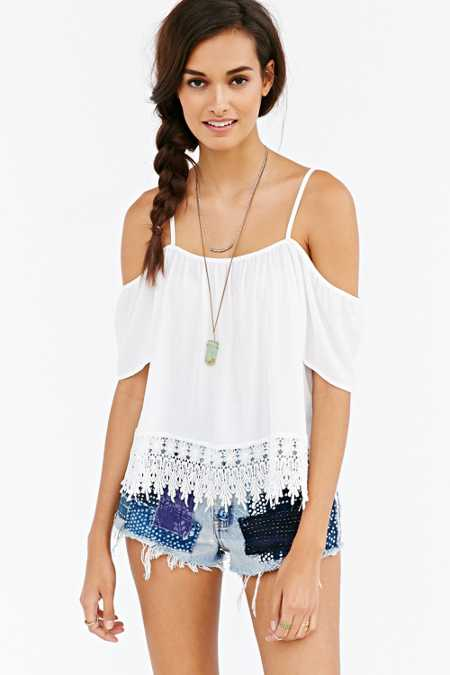Kimchi Blue Crochet-Trim Cold Shoulder Top