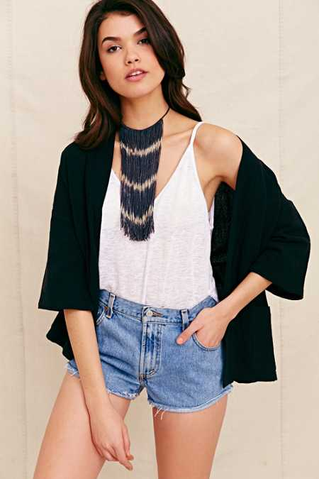 Cathy Callahan Chevron Stripe Fringe Necklace