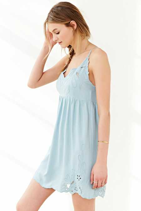 Staring At Stars Applique Babydoll Slip Dress