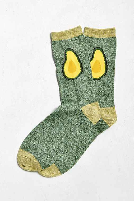 Avocado Halves Sock,GREEN,ONE SIZE