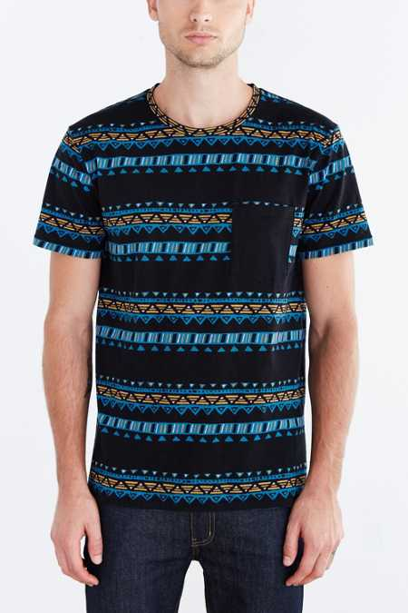 BDG Geo Stripe Standard-Fit Pocket Tee