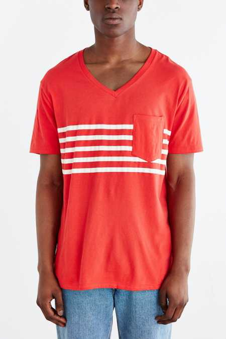 BDG Striped Pocket Standard-Fit V-Neck Tee