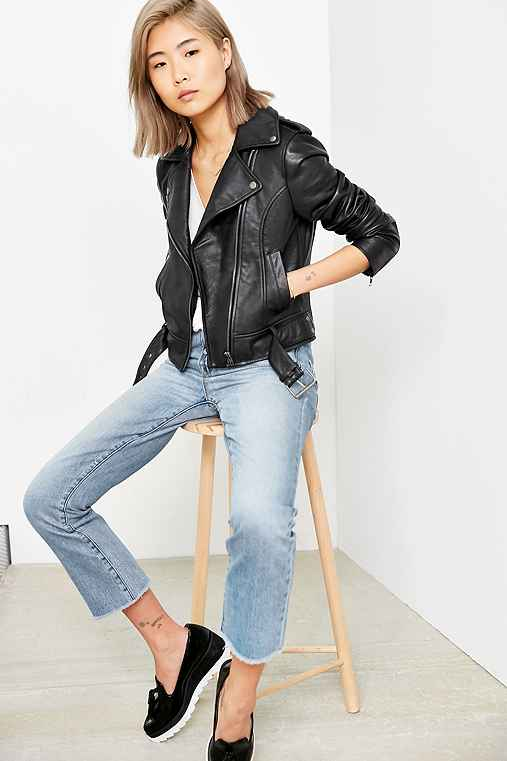 Silence + Noise Tough Leather Moto Jacket,GREY,S