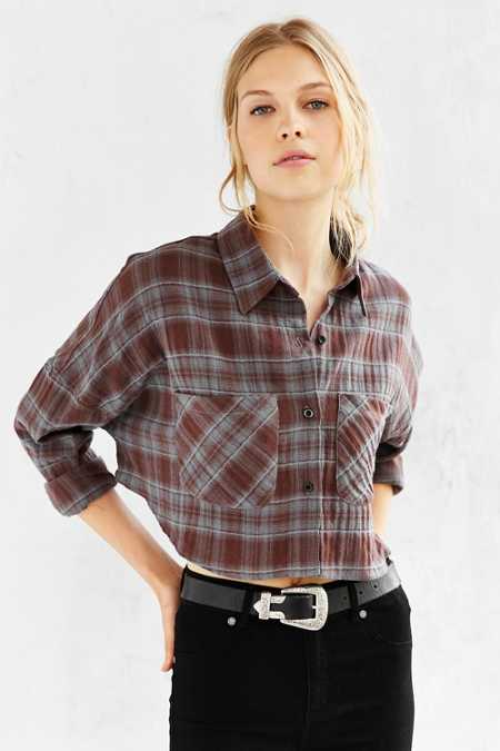 UNIF X UO Cropped Flannel Button-Down Shirt