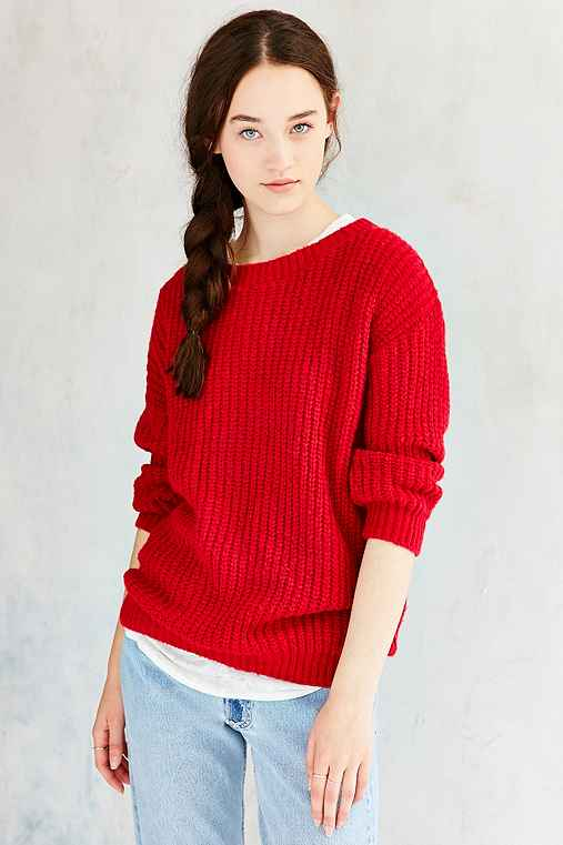 Glamorous Cozy Stitched Sweater,RED,S