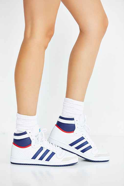 adidas Originals Top Ten Hi High Top Sneaker,BLUE MULTI,W 6/M 4.5
