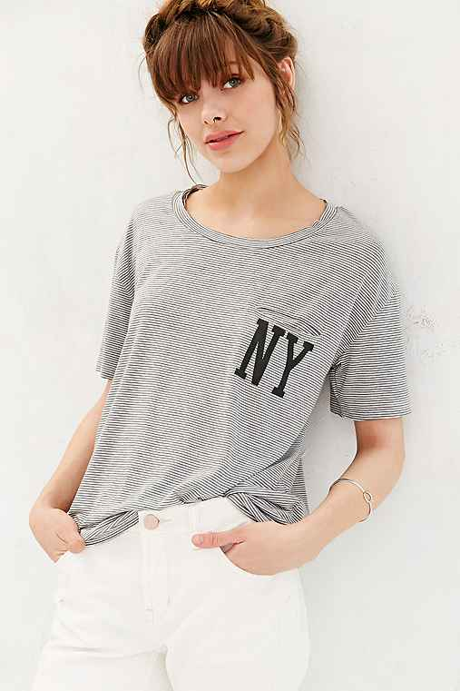 BDG State Lines Striped Pocket Tee,NEW YORK,S