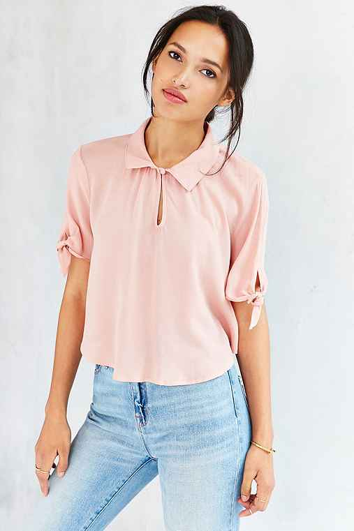 Cooperative Tie-Sleeve Caitie Blouse,BLUSH,L