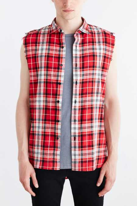 Kill City Sleeveless Flannel Button-Down Shirt