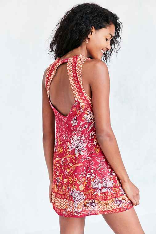 Ecote Guinevere Open-Back Frock Dress,PINK,L