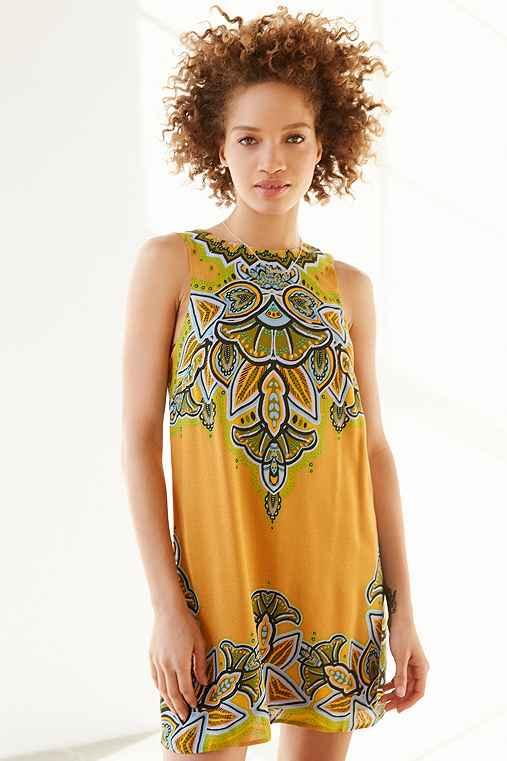 Ecote Guinevere Open-Back Frock Dress,YELLOW,XS