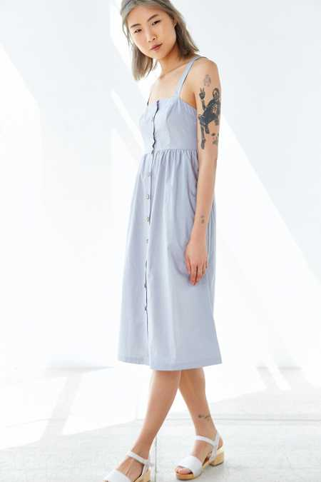 Cooperative Button-Front Poplin Midi Dress