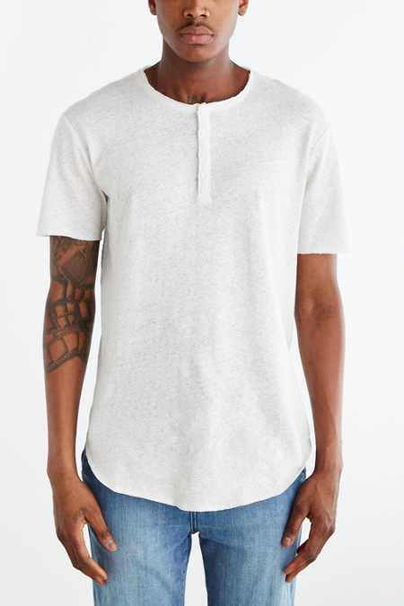 Feathers Short-Sleeve Linen Henley Tee