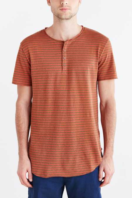 Feathers Short-Sleeve Striped Linen Henley Tee