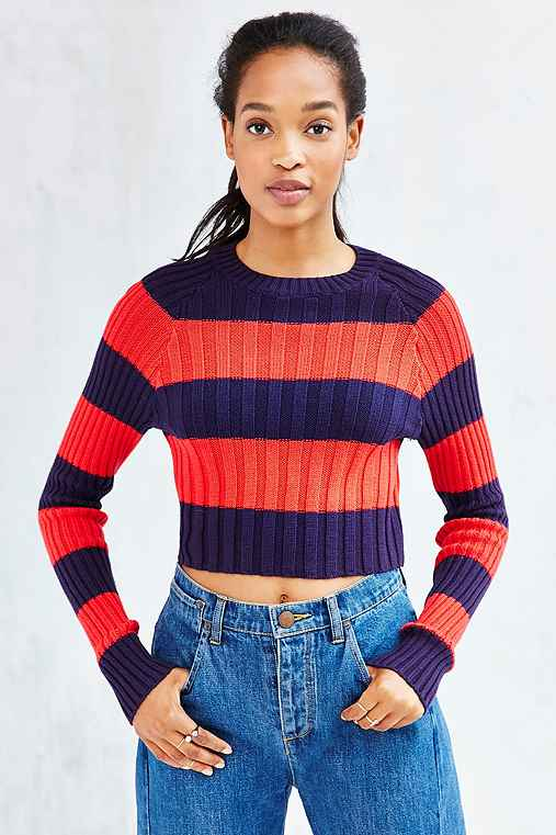 BDG Casey Ribbed Knit Cropped Sweater,RED MULTI,XS