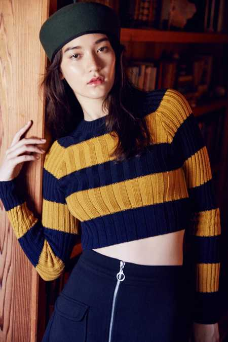 BDG Casey Rib-Knit Cropped Sweater
