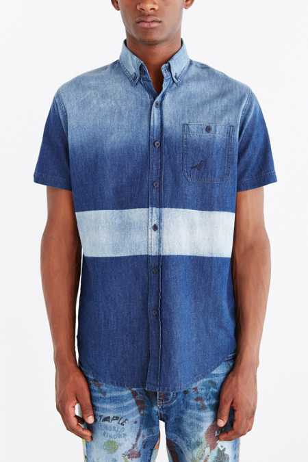 Staple Indigo Block Woven Button-Down Shirt