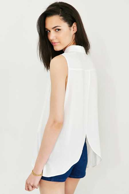COPE Curved-Hem Sleeveless Blouse
