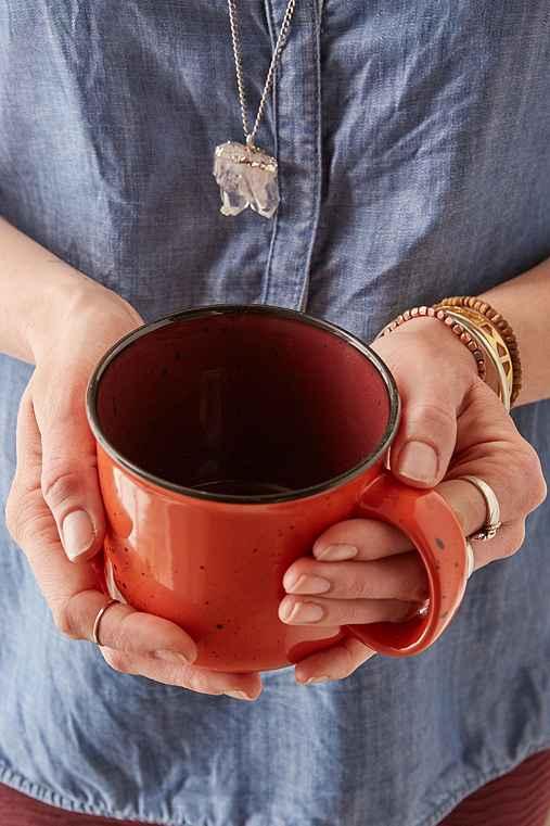 Ceramic Enamel Mug,RED,ONE SIZE