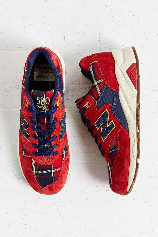 New Balance 580 Tartan Running Sneaker,RED,7