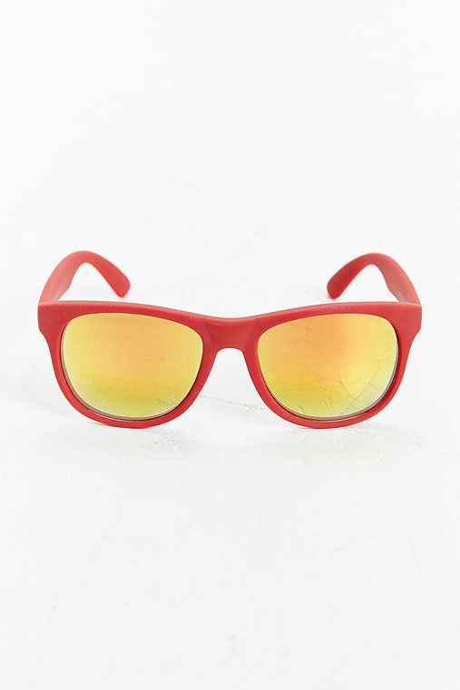 Rubberized Matte Square Sunglasses,RED,ONE SIZE
