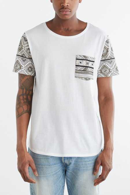 BDG Pattern Blocked Standard-Fit Wide Neck Pocket Tee