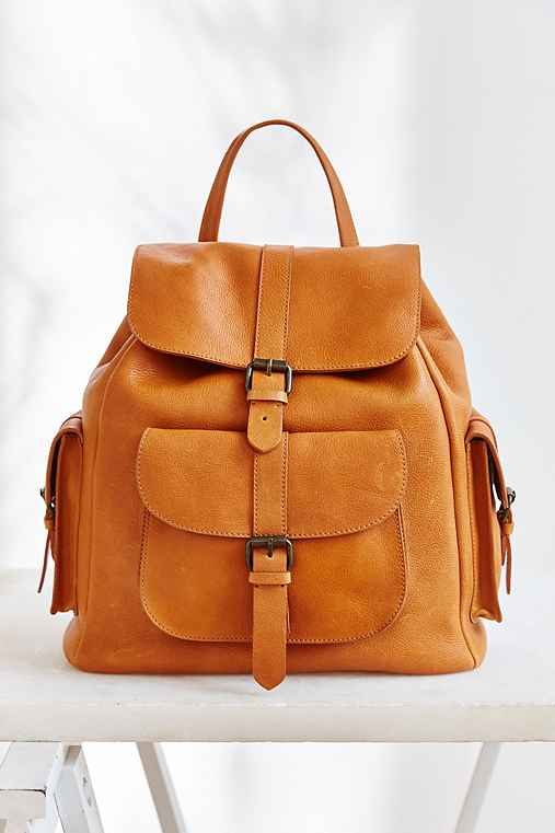 BDG Leather Pocket Backpack,BROWN,ONE SIZE