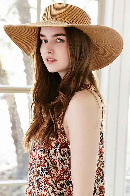 Braided Straw Oversized Boater Hat,TAN,ONE SIZE