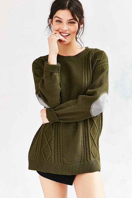 BDG Elbow Patch Sweater,GREEN,S
